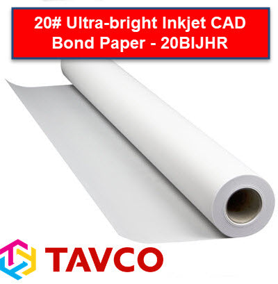 20# Ultra-Bright Inkjet CAD Bond Plotting Paper - 20BIJHR - 20BIJHR22150 - TAVCO