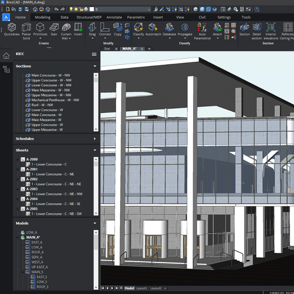 BricsCAD BIM for 3D Model Processes