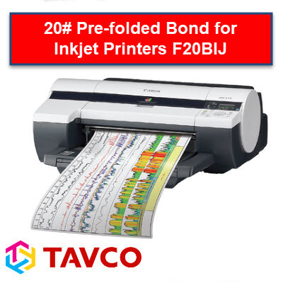 Folded Printer Paper - Well Log - 20lb Bright White Inkjet Rolls - F20BIJ90300R6 - TAVCO