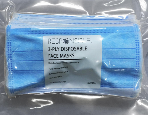 Responsible 3-Ply Disposable Face Mask (Case of 1400)