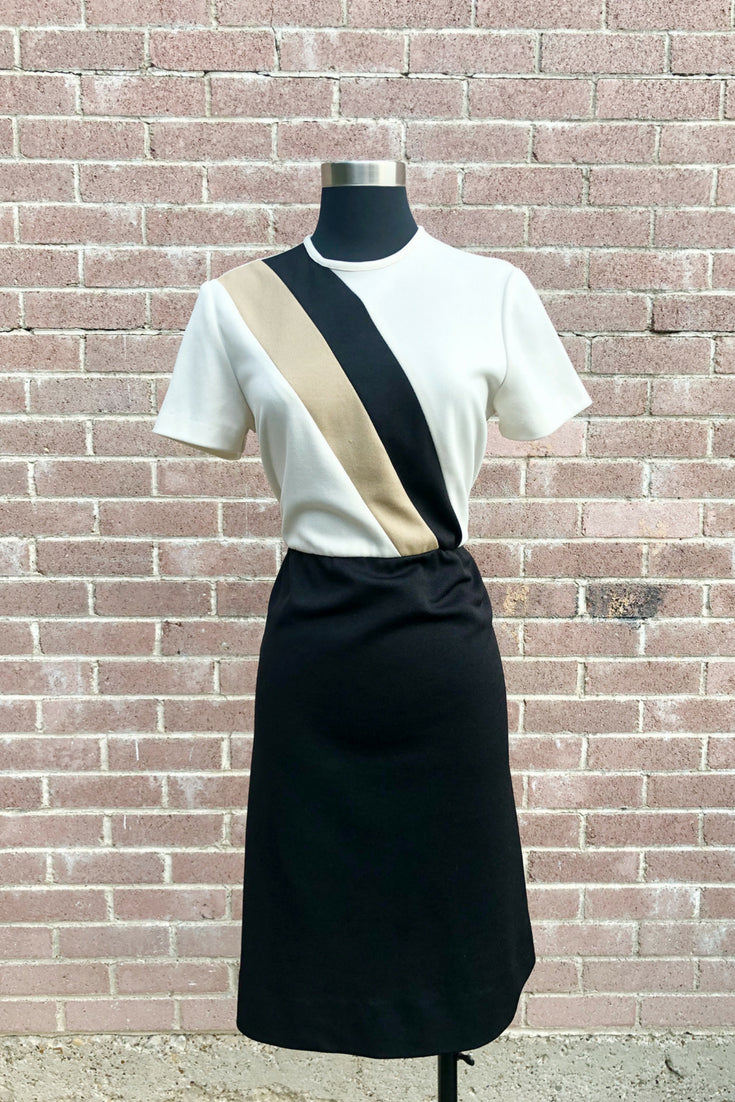 Vintage Color Block Sheath Dress and Jacket