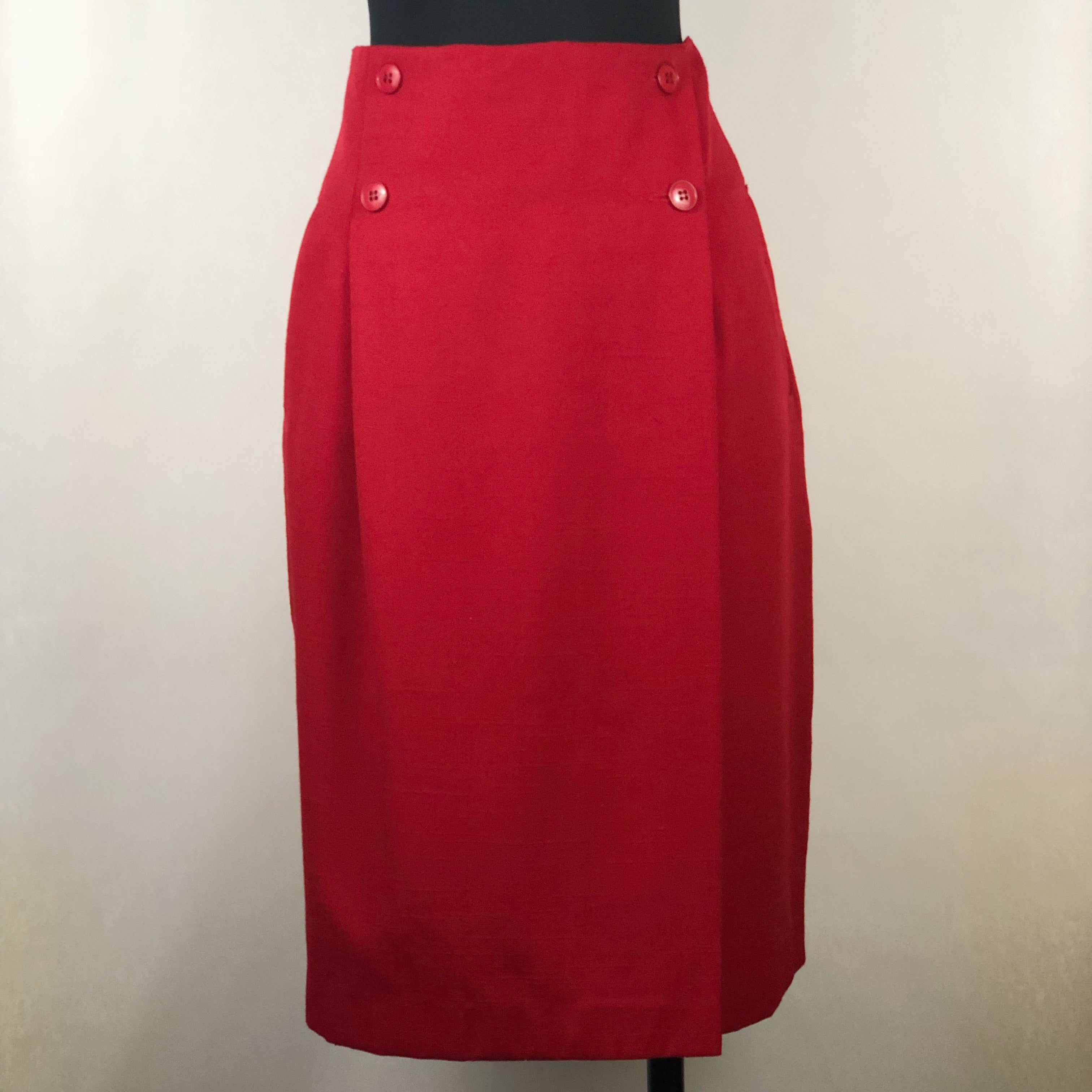 Vintage Red Faux Wrap Pencil Skirt by Part One