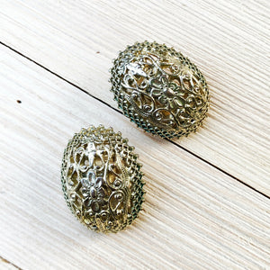 Vintage Gold Filigree Clip On Earrings