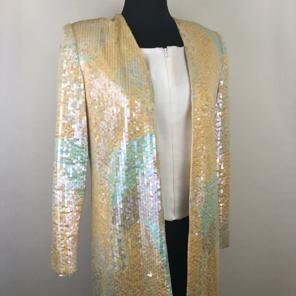 Vintage Pink Multi-Colored Open Front Sequin Jacket by Nolan Miller