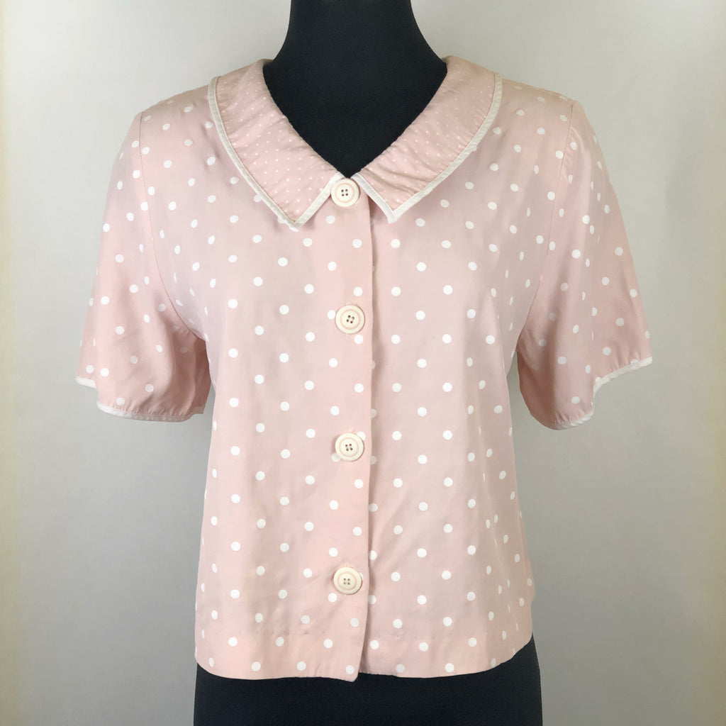 Vintage Pink and White Polka Dot Blouse by Jaclyn T. San Francisco