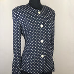 Vintage Navy and White Polka Dot Jacket by Liz Claiborne Collection