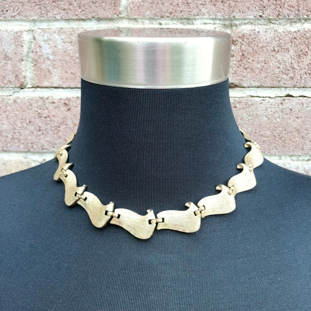 Vintage Scroll Link Choker Necklace by Trifari