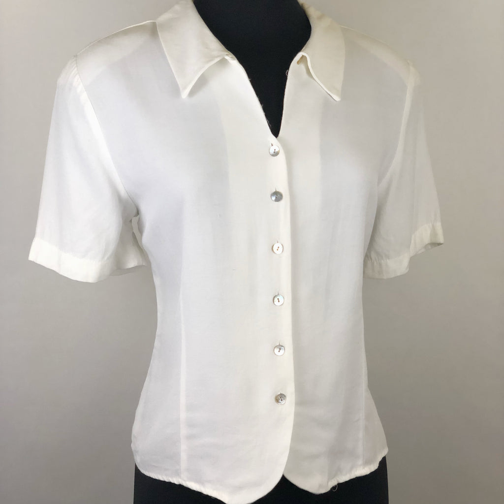 Vintage White Short Sleeve Button Down Blouse by Erena Petite