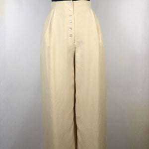 Vintage Ivory Silk Wide Leg Pants by Express