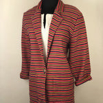 Vintage Red Multi-Colored Striped Blazer by Kelly Stryker