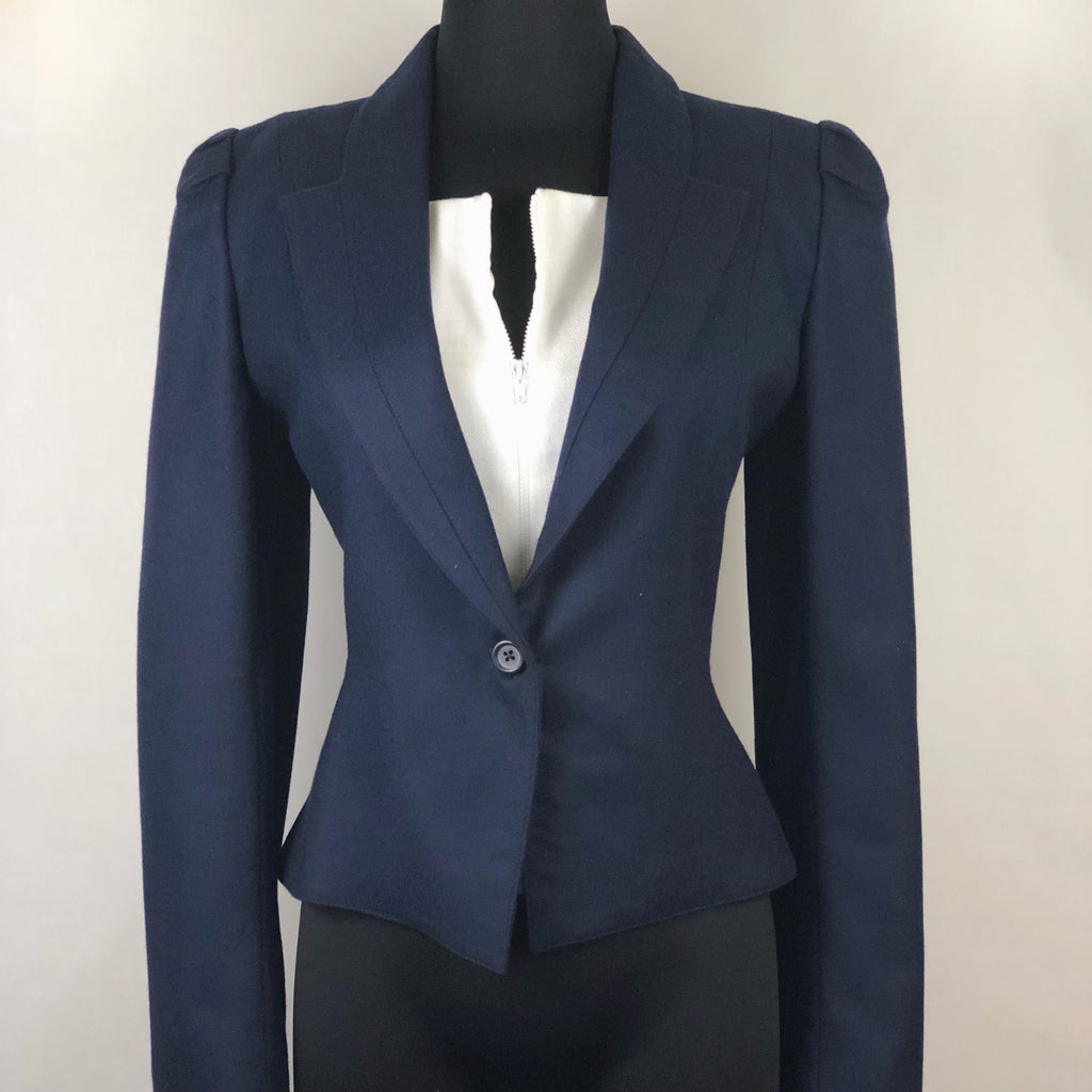 Vintage Navy Blue Tailored Wool Jacket by Cassidy
