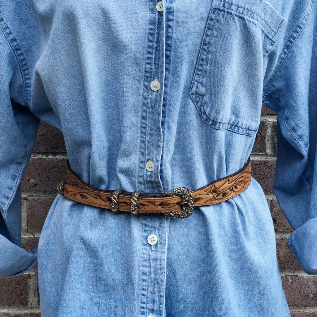 Vintage Western Hand Tooled Leather and Brass Belt by Motleys
