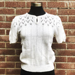 Vintage Short Sleeve Pointelle Knit Sweater by Alpenbliek