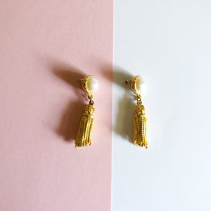 Vintage Faux Pearl and Tassel Earrings by Ginnie Johansen Design