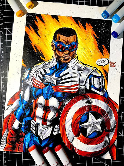 Falcon Captain America - Original Colored Sketch