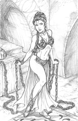 Slave Princess Leia - Original Pencils