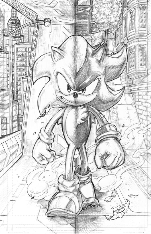 Sonic's Shadow - Original Pencils