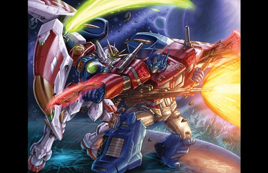 Gundam Wing Zero Vs. Optimus Prime Print - 11x17