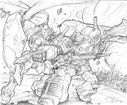 Gundam Wing Zero Vs. Optimus Prime - Original Pencils