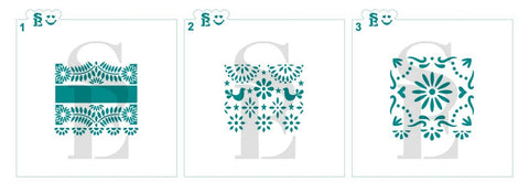 Papel Picado #1, #2 & #3 Stencil Bundle of all 3 for Cookies, Cakes & Culinary Talavera / Henna