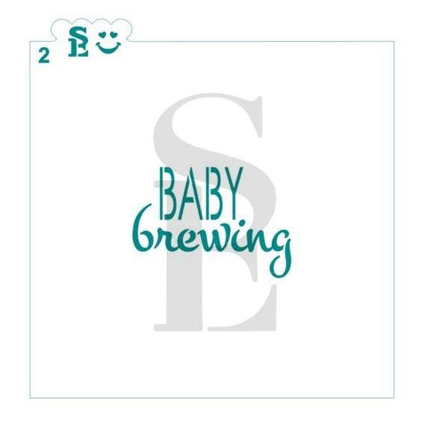 Baby Brewing #2 Stencil for Cookies, Cakes & Culinary