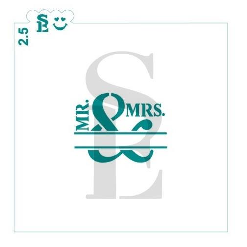 Mr & Mrs (Add Name), One or Two-Step Stencil for Cookies, Cakes & Culinary