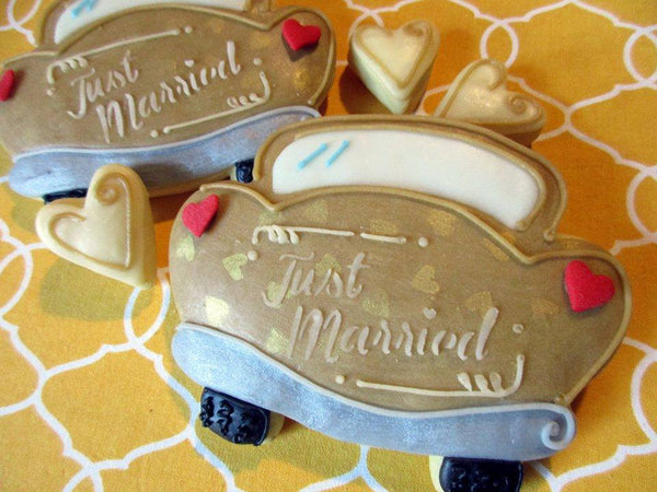 Just Married Greeting Stencil for Cookies, Cakes & Culinary