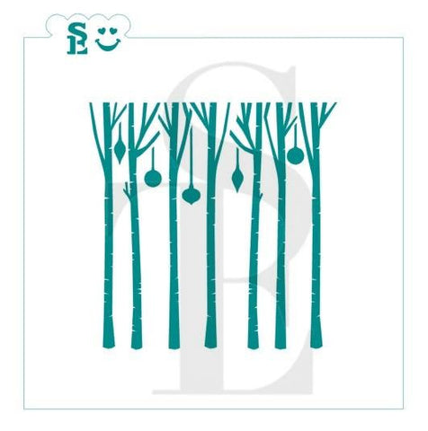 Birch Trees and Ornaments Stencil for Cookies, Cakes & Culinary *Digital Download