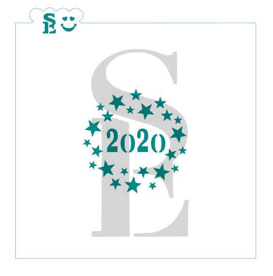 2019 or 2020 Stars Round Celebration Stencil for Cookies, Cakes & Culinary