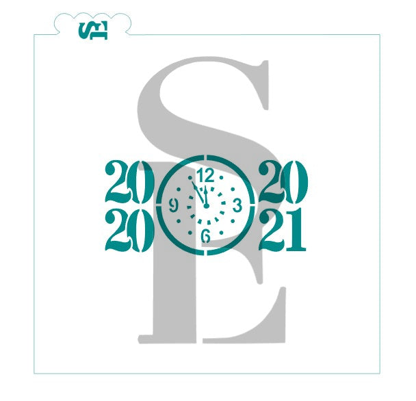 New Year's Eve Clock 2020-2019 Stencil for Cookies, Cakes & Culinary Cookie Stencil