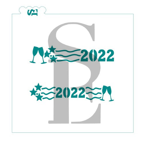 2021 AND 2022 Stars with Toasting Glasses Digital Design cookie stencil