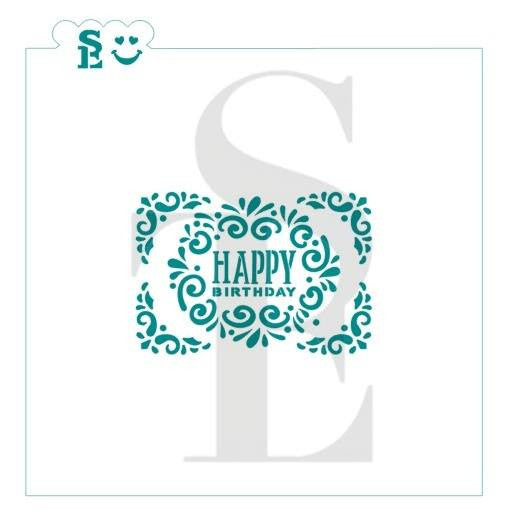 Ornate Happy Birthday Greeting Plaque Stencil for Cookies, Cakes & Culinary