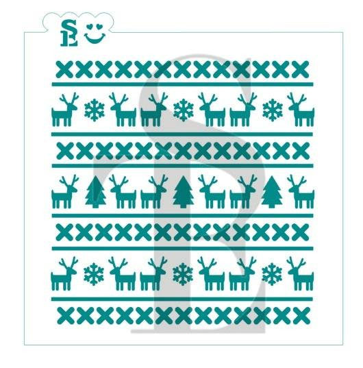 Christmas Sweater Reindeer Background Stencil for Cookies, Cakes & Culinary