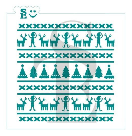Christmas Sweater Reindeer & Elf Background Stencil for Cookies, Cakes & Culinary