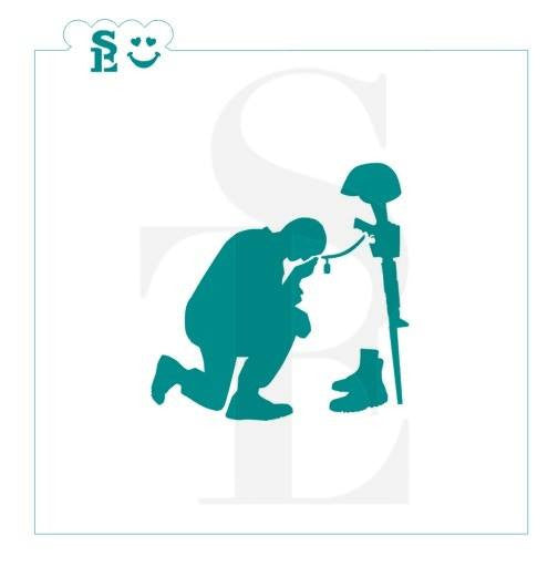 Memorial Day - Kneeling Soldier Stencil for Cookies, Cakes & Culinary