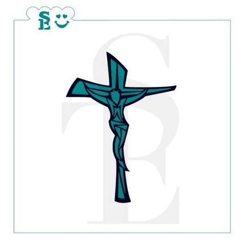Easter Modern Crucifix Stencil for Cookies, Cakes & Culinary