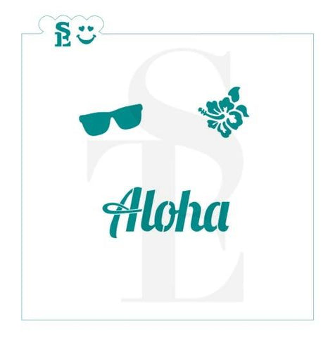 Aloha Greeting and Tropical Minis Stencil for Cookies, Cakes & Culinary