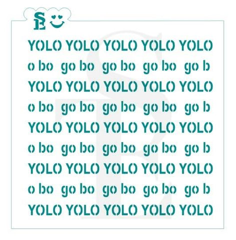 GO BO YOLO Background Stencil for Cookies, Cakes & Culinary