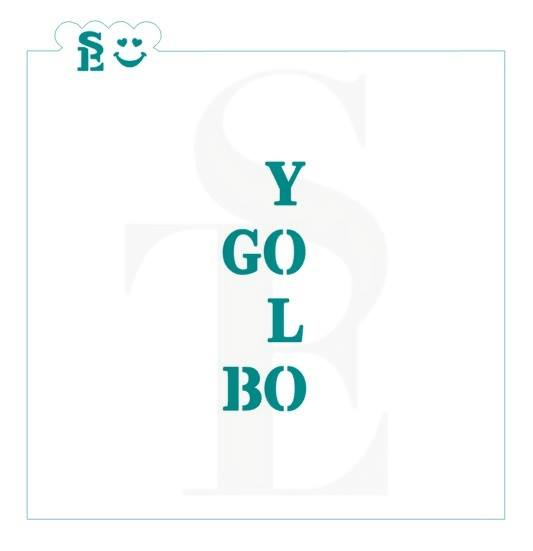 GO BO YOLO Crossword Stencil for Cookies, Cakes & Culinary