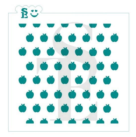 Apples - Straight Background Stencil for Cookies, Cakes & Culinary