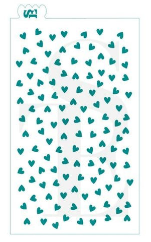 Scattered Mini Hearts GRANDE Background Stencil for Cookies, Cakes & Culinary