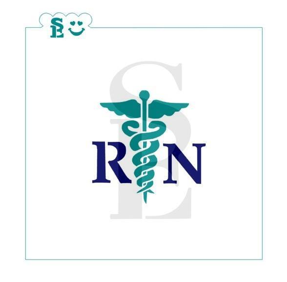 Medical Caduceus RN, One & Two-Step Stencil for Cookies, Cakes & Culinary