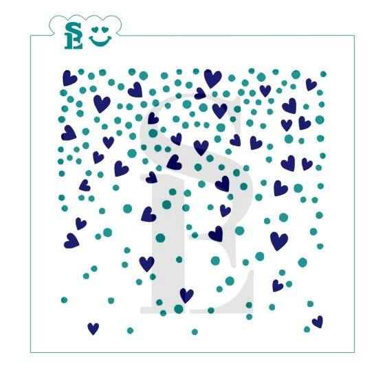 Confetti w/ Hearts Background, One & Two-Step Stencil for Cookies, Cakes & Culinary
