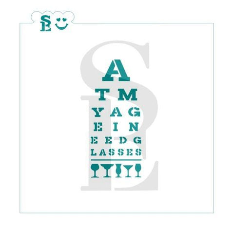 At My Age I Need Glasses Eye Chart Stencil for Cookies, Cakes & Culinary