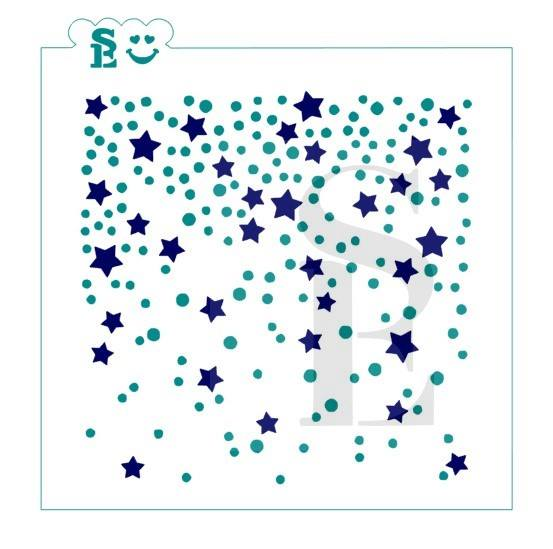 Confetti w/ Stars Background, One & Two-Step Stencil for Cookies, Cakes & Culinary