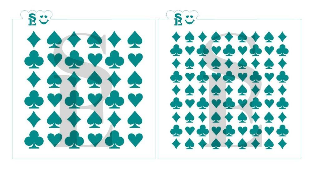Playing Card Suits Background Bundle Stencil for Cookies, Cakes & Culinary