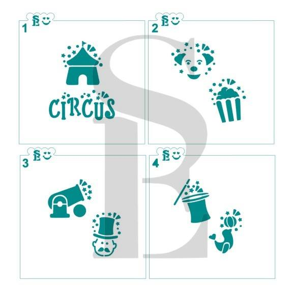 Circus Icons #1-4 Stencil Bundle Cookies, Cakes & Culinary