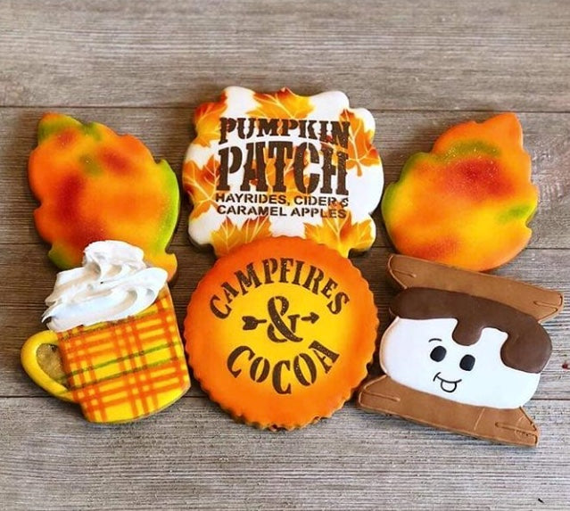 Pumpkin Patch Sentiment Digital Design Cookie Stencil Blissful  Bites