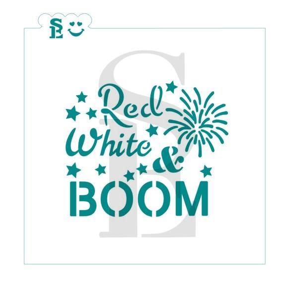 Red, White & Boom, One or Two-Step Stencil for Cookies, Cakes & Culinary