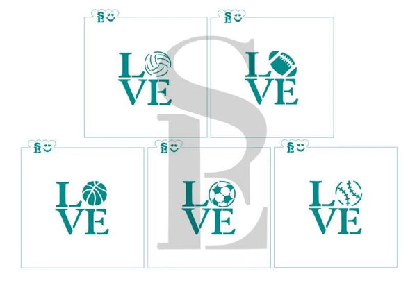 LOVE Sports Balls Stencil Bundle for Cookies, Cakes & Culinary